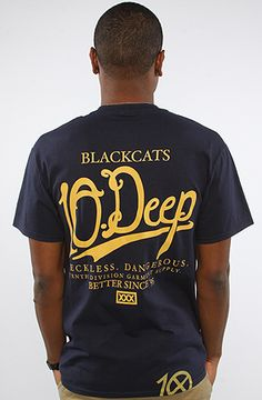 6e5ae8494443b 10 Deep The Black Cats Staff Tee in Navy Urban Swag