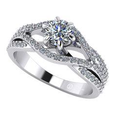 Inel de logodna din aur alb cu diamante ES119
