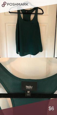 Dark green swing tank- Mossimo Razor back tank, with pocket detail on chest. Dark green, size med Mossimo Supply Co Tops Tank Tops