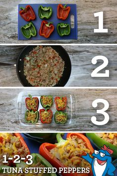 It's National Pepper Month! Get in the spirit with our tasty Tuna Stuffed Peppers recipe. Source by starkist Healthy Crockpot Recipes, Low Carb Recipes, Cooking Recipes, Vegan Meals, Tuna Stuffed Peppers, Belgium Food, Tasty, Yummy Food, Smoothie Recipes