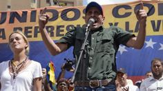 Henrique Capriles at a rally in Caracas (22 February 2014)