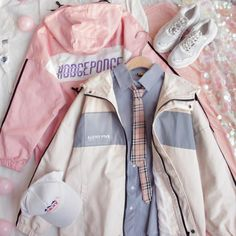 Pink Outfits, Kpop Outfits, Korean Outfits, Cute Casual Outfits, Pretty Outfits, Vintage Outfits, Fashion Outfits, Harajuku Fashion, Kawaii Fashion