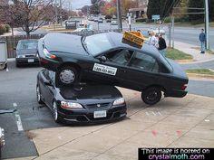 Crazy picture of bizarre car crash