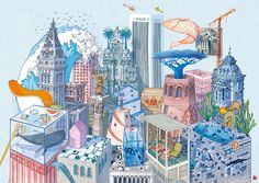 """The illustration describes """" Anastasia"""", one of the fantastic cities appearing in Italo Calvino's novel """" Le città invisibili"""". Art And Illustration, Landscape Illustration, Illustrations Posters, City Sketch, City Drawing, Invisible Cities, Collaborative Art, Sketchbook Inspiration, Italian Artist"""