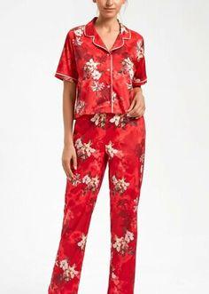 Talia Maskülen Pijama Takımı - KIRMIZI BASKILI Bloom Coffee, Dark Flowers, Mavis, Pajama Pants, Model, Vintage, Dresses, Fashion, Vestidos