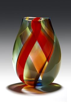 Banded Vessel by Robinson Scott Blown Glass Art, Art Of Glass, Cut Glass, Glass Vase, Glass Ceramic, Mosaic Glass, Stained Glass, Glas Art, Carnival Glass