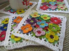 Crochet coasters lace doilies table placemats , flower doilies, country house decor, set of 6 pcs Crochet Square Patterns, Crochet Blocks, Crochet Squares, Crochet Stitches, Crewel Embroidery, Embroidery Patterns, Lace Doilies, Manta Crochet, Learn To Crochet