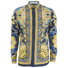 Versace Collection Men's Silk Printed Shirt - Blue (2.080 RON) ❤ liked on Polyvore featuring men's fashion, men's clothing, men's shirts, men's casual shirts and blue