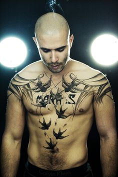 Vincent Joulia by Sylvain Norget with fake tattoos designed by Mara Sastre