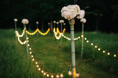 Globe lights can also be used to create a lighted pathway or aisle for an outdoor wedding ceremony.