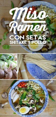 Una sopa japonesa digna del emperador. Miso ramen con setas shitake y pollo