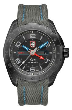Luminox 'Space - SXC Steel' GMT Canvas Strap Watch, 46mm