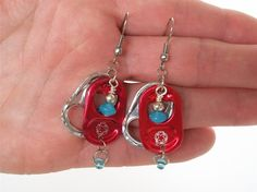 Energy Drink Pull Tab Earrings - Pep - red and aqua - soda pop tabs - upcycled/recycled/eco-friendly jewelry - under 15.00. $13.00, via Etsy.