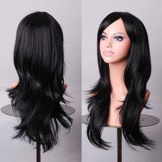 하츠네 미쿠 가발 70 센치메터 곱슬 웨이브 머리 검은 긴 합성 가발 패드 peluca 코스프레 Perruque peruca femininas
