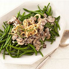 Stovetop Green Bean Casserole        1 1/2 pound(s) green beans, trimmed      1 tablespoon(s) extra-virgin olive oil      1 tablespoon(s) margarine or butter      1/4 large (10- to 12-ounce) sweet onion, finely chopped      Salt      Pepper      2 package(s) cremini mushrooms, sliced      2 tablespoon(s) all-purpose flour      1 cup(s) milk, warmed      1 teaspoon(s) chopped fresh thyme leaves      1 pinch(s) cayenne (ground red) pepper      1/4 cup(s) crunchy fried onions (optional)