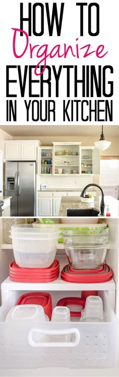 Tips and Tricks for an Organized Kitchen - See how to organize cabinets holding everything from plasticware to grocery store bags!