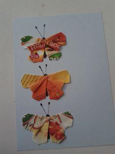 Licht blauwe kaart met drie vlinders / origami / theezakjes vouwen / teabag folding card