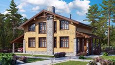 Дом из бруса с мансардным этажом Cabin, House Styles, Home Decor, Decoration Home, Room Decor, Cabins, Cottage, Home Interior Design, Wooden Houses