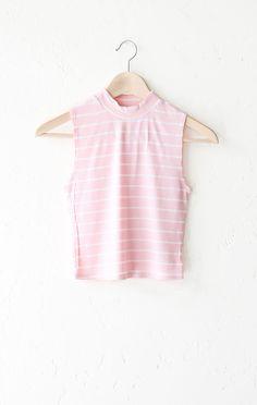 Striped Mock Neck Crop Top - Pink