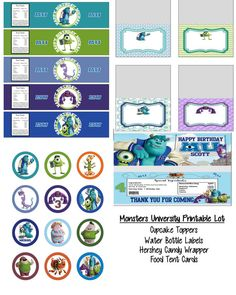 Disney Pixar Monsters University Monsters Inc Birthday Party Printable Lot Favors and More on Etsy, $15.00