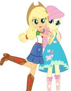 #1699205 - applejack, clothes, equestria girls, fluttershy, official, safe, shipping fuel, simple background, spoiler:eqg series, transparent background - Derpibooru - My Little Pony: Friendship is Magic Imageboard