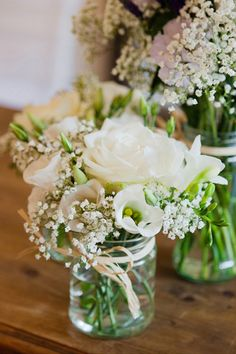 Dedes at the Point Restaurant Inspiration || Wedding details | Bridal Bouquet | Waterfront wedding | wedding flower bouquet | bridal bouquet | wedding centre piece | wedding flowers in clear jam jars with raffia or ribbon #waterfrontwedding #flowers #wedding #bouquet #sydney