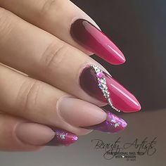 #LoveNess Nail Products: Ombre & Inlay, #LVS Gelpolish colors: True Love, Vegas Volt & Oh-Bergine 😍😍 + some #LVS Magic Flakes & stones Www.bibisbeautysupplies.com