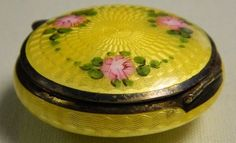 ANTIQUE VINTAGE COMPACT GUILLOCHE ENAMEL BEAUTIFUL IN BRIGHT YELLOW