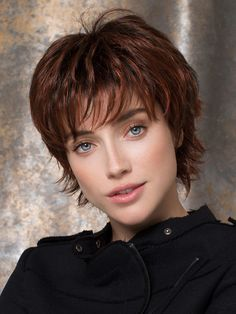 Women's Short Wigs Mahogany Deep Wave Curly Full Wigs online fashion destination for dresses, tops, pants, swimwear, and more. Shop every trend online # Auburn Balayage, Short Pixie Haircuts, Short Hair Cuts, Wigs For Cancer Patients, Corte Pixie, Curly Hair Styles, Natural Hair Styles, Jon Renau, Shag Hairstyles