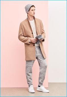 Men's Camel Overcoat, White Cable Sweater, Grey Crew-neck T-shirt, Grey Sweatpants Tan Overcoat, Winter Overcoat, Mens Beanie Hats, Grey Beanie, Men's Beanies, Wool Gloves, Mens Gloves, Cable Sweater, Grey Sweater