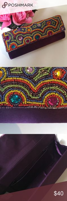 "💋weekend sale 💋Hand Beaded clutch from India Like new!  8"" across 4"" vertical. 2"" wide. Made in India. Magnetic closure. Can fit iPhone 6S plus, keys and few cosmetics. Deep royal purple. Quality beading. Satin. Like new! Bags Clutches & Wristlets"