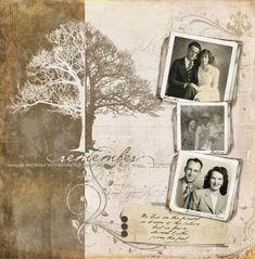 """scrapbooking ideas by magdalena [another nice """"heritage"""" layout - 3 photos +brushes/stamps] Heritage Scrapbook Pages, Vintage Scrapbook, Scrapbook Page Layouts, Wedding Scrapbook, Scrapbook Paper Crafts, Scrapbook Cards, Scrapbook Templates, Family History Book, Digital Scrapbooking"""