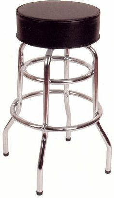 30''H Double Ring Armless Barstool by American Tables and Seating. $40.99. Attractive yet simple Backless Barstool built to last Black Vinyl Covering Constructed of 1'' chrome plated round steel tubing Extra double leg support bracing for strength and durability Extra padding is added to the seat for additional comfort Flat swivel Seat height from floor is 29 1/2'' Additional seat fabrics available