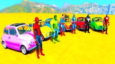 Learn colors mini cars with spiderman cartoon /superheroes 3d animation ...