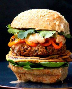 Red lentil and cauliflower burger