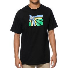 The Casual Industrees OR Brah Flag t-shirt in a black colorway has a  lightweight cotton design. Show off that Oregon pride with the green a5411d14b