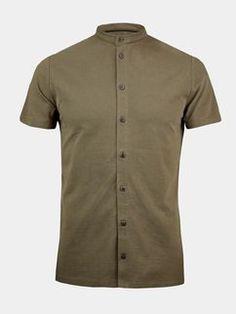 Khaki Grandad Collar Shirt