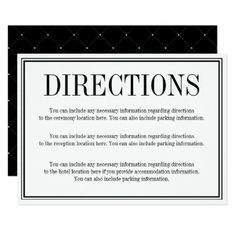 Simple and Elegant Directions Enclosure Card - traditional gift idea diy unique