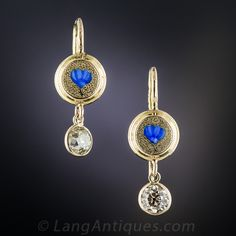 From Russia wit love: a pair of champagne tinged old mine-cut diamonds, together weighing carat, swing and sway and sparkle below bright blue tulips in these darling and unusual dangle earrings - circa Diamond Drop Earrings, Diamond Studs, Chandelier Earrings, Dangle Earrings, Vintage Earrings, Vintage Jewelry, Russian Wedding, Blue Tulips, Belly Button Rings