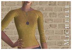 'Michelle' I separated a Stylist Sims sweater, and recolored it using Aelia's 'Lonesome' and CuriousB's actions. The mesh is by Tantra and is included. Edit: Link updated, it should work now. :) Download @ Box.net Credit Texture: Stylist Sims Colors: CuriousB and Aelia