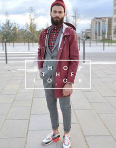 Was für eine Kombination bei 'Shop the Look': Das Karohemd blitzt unter dem Anzug hervor, die Air Max lockern das Ganze auf und die Stutterheim Regenjacke in weinrot mit passender Mütze runden es perfekt ab. Jetzt nachshoppen: http://www.sturbock.me/?search=set11