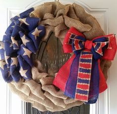 Fourth of July Patriotic burlap wreath by Johanna Nuno