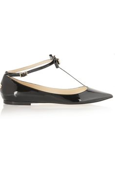 Jimmy Choo | Glaze patent-leather point-toe flats | NET-A-PORTER.COM