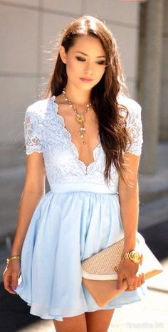 #short coctail dress sexy cocktails #fashion #pale blue dress ...PUSH and choose