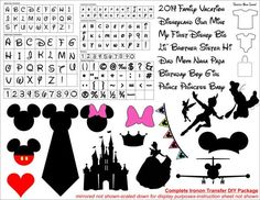Disney Ironon Transfer DIY Package Printable Instant Download for personalized and custom Disney Shirts made by You!