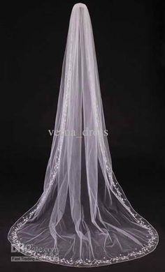 Wholesale Bridal Mantilla1 Layer Cathedral Length Wedding Veil Lace Edge Embroidery White Wedding Accessory, Free shipping, $22.4-25.76/Piece | DHgate