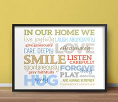16x20 Digital Print / In Our Home... / Colorful / Motivational Print / Home Decor