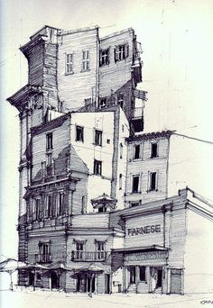 [Architecture - Building - Image by flaf - Drawing] Art And Illustration, Drawing Sketches, Art Drawings, Drawn Art, Architecture Drawings, Architecture Panel, Architecture Portfolio, Architecture Design, Urban Sketchers