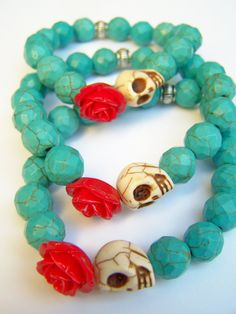$12 Day of the Dead Bracelet Dia de Los Muertos Beaded by polishedtwo