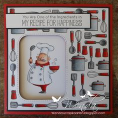 Birdie Brown Recipe for Happiness Card Making Inspiration, Making Ideas, Recipe Scrapbook, Scrapbook Cards, Scrapbooking, Mft Stamps, Copics, Masculine Cards, Card Tags